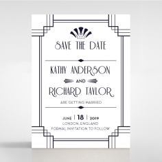 Art Deco Allure wedding save the date stationery card
