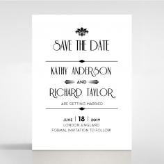 Art Deco Romance save the date wedding stationery card