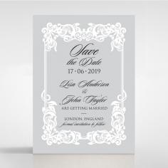 Black Divine Damask wedding save the date stationery card design