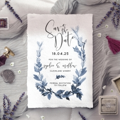 Blue Forest save the date wedding stationery card design