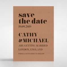 Etched Cork Letter save the date wedding stationery card design