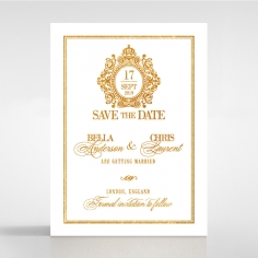 Gold Foil Baroque Gates wedding stationery save the date card design