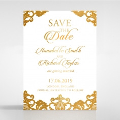 Golden Baroque Pocket with Foil save the date stationery card item