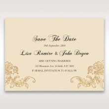 Golden Charisma save the date wedding card design