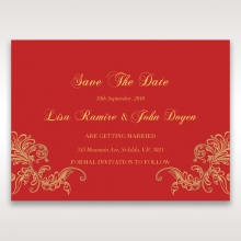Golden Charisma save the date wedding stationery card