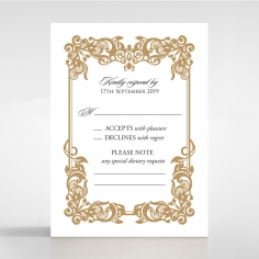 Golden Divine Damask wedding save the date stationery card