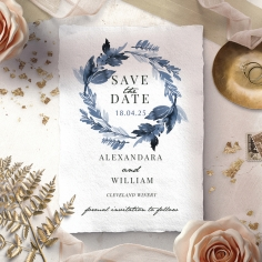 Indigo Round save the date invitation card