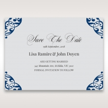 Jewelled Navy Half Pocket save the date invitation card design