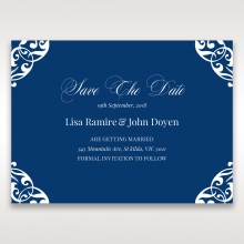 Jewelled Navy Half Pocket save the date invitation stationery card