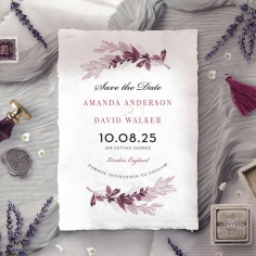 Magenta Wed save the date wedding stationery card