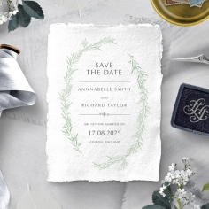 Minimalist Wreath save the date stationery card design