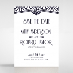 Modern Deco save the date invitation stationery card design