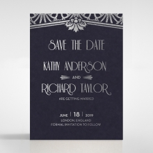 Modern Deco wedding stationery save the date card