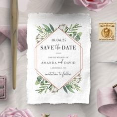 Modern Greenery wedding stationery save the date card design