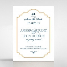 Noble Blue Gates save the date invitation stationery card design