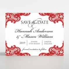 Red Lace Drop save the date wedding card