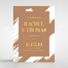 Rustic Brush Stroke  with Foil save the date wedding card