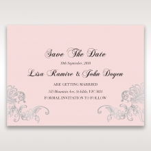 Silvery Charisma save the date wedding stationery card design