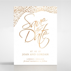 Woven Love Letterpress with foil save the date card