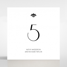 Art Deco Romance wedding table number card stationery design