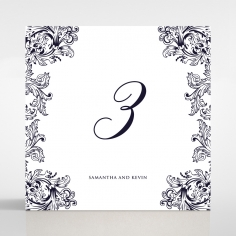 Baroque Romance wedding stationery table number card design