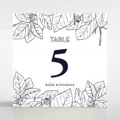 Botanical Canopy wedding reception table number card design