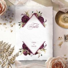Burgandy Rose wedding table number card stationery