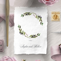 Country Charm reception table number card stationery design