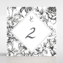 English Rose wedding stationery table number card design