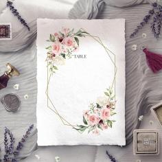 Geometric Bloom wedding venue table number card stationery design