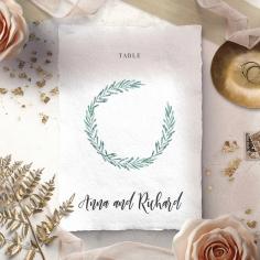Modern Garland wedding table number card