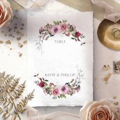 Watercolor Rose Garden wedding venue table number card stationery design