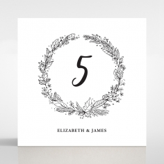 Whimsical Garland wedding reception table number card stationery design