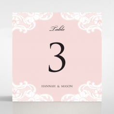 White Lace Drop wedding table number card stationery