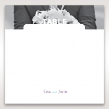 Beautiful Romance wedding reception table number card stationery design