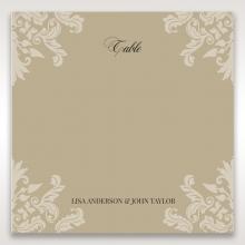 Golden Beauty wedding venue table number card stationery design