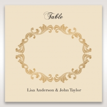 Golden Charisma wedding venue table number card design