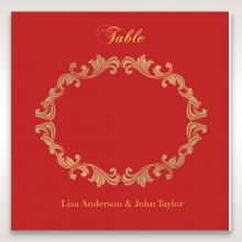 Golden Charisma wedding venue table number card stationery