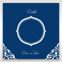 Jewelled Navy Half Pocket table number card stationery