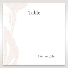 Laser cut Peacock Feather reception table number card stationery