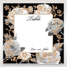 Rose Gold Flowers reception table number card design