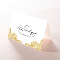 Black Lace Drop wedding thank you stationery card design
