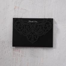 Elegant Crystal Black Lasercut Pocket wedding thank you stationery card design