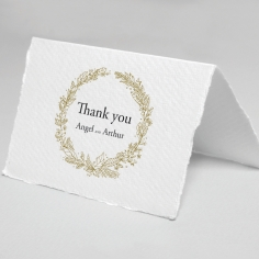 Enchanted Wreath wedding stationery thank you card design