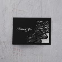 Floral Laser Cut Elegance Black thank you wedding stationery card
