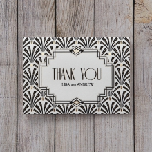 Glitzy Gatsby Foil Stamped Patterns wedding stationery thank you card