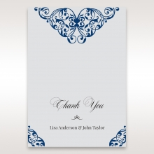 Jewelled Navy Half Pocket thank you card design