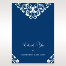 Jewelled Navy Half Pocket thank you stationery card
