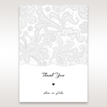 Luxurious Embossing with White Bow thank you stationery card