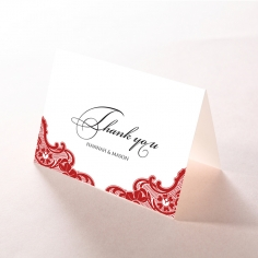 Red Lace Drop wedding thank you stationery card item